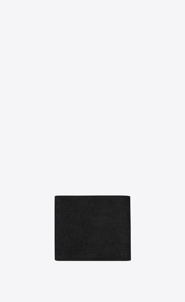monogram e/w portemonnaie aus nubuk mit krokoprägung