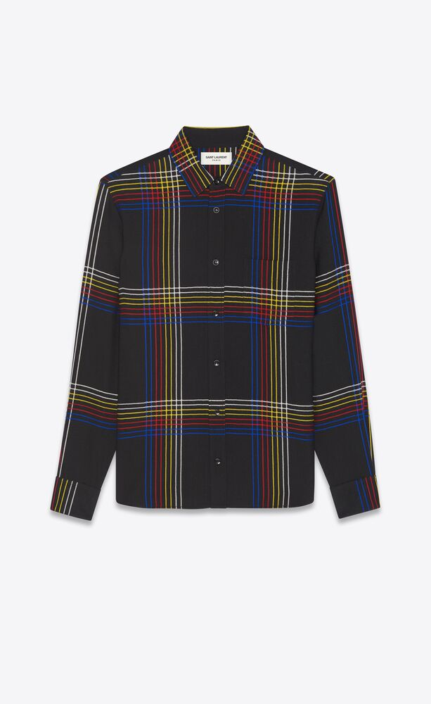 yves collar fitted shirt in checked wool