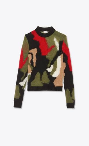 pullover mit camouflage-print aus wolle und mohair-intarsien