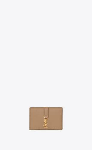 ysl line business card case in grained leather