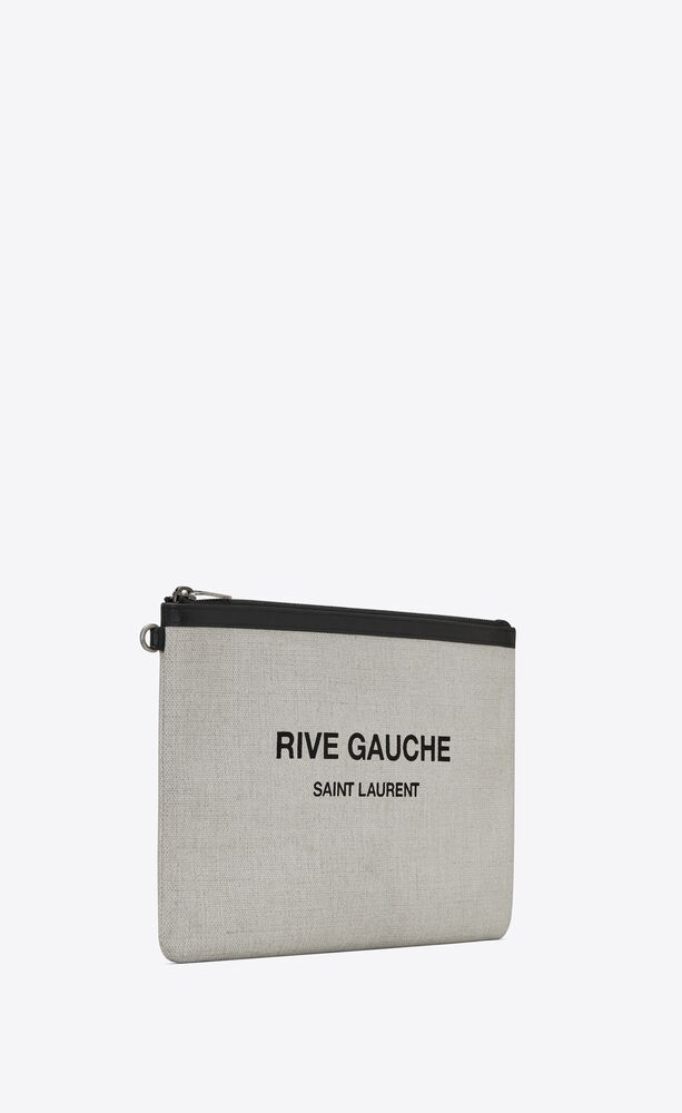 rive gauche zippered pouch in linen canvas