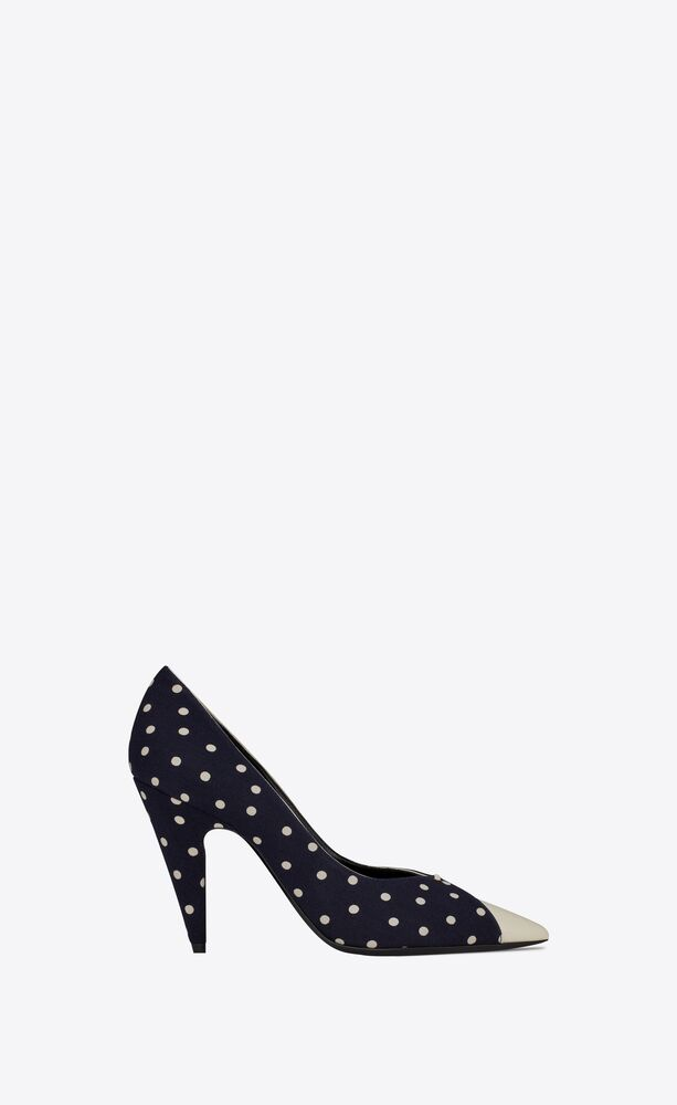lola pumps in dotted canvas and smooth leather