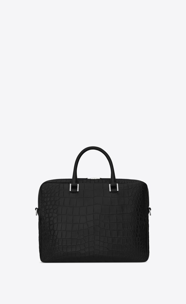 sac de jour briefcase in crocodile embossed leather