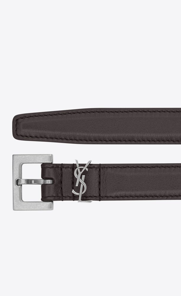 monogram narrow belt with square buckle in lacquered leather
