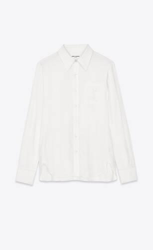 chemise à monogramme brodé en coton et lin