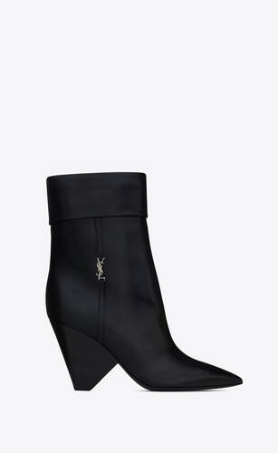 niki booties in smooth leather and silver-tone monogram
