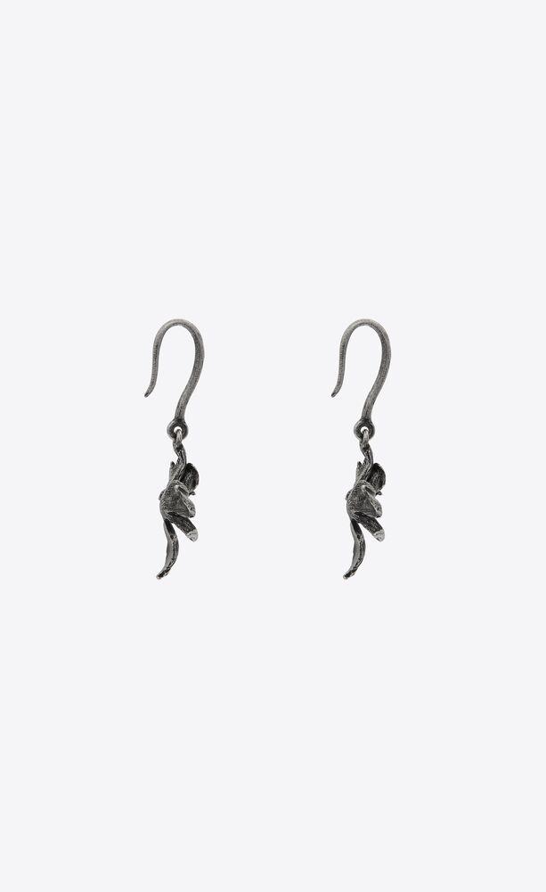 orchid drop earrings in metal