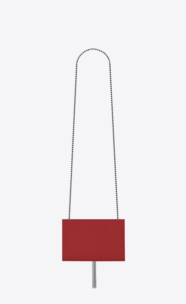 kate chain and tassel bag in red textured leather