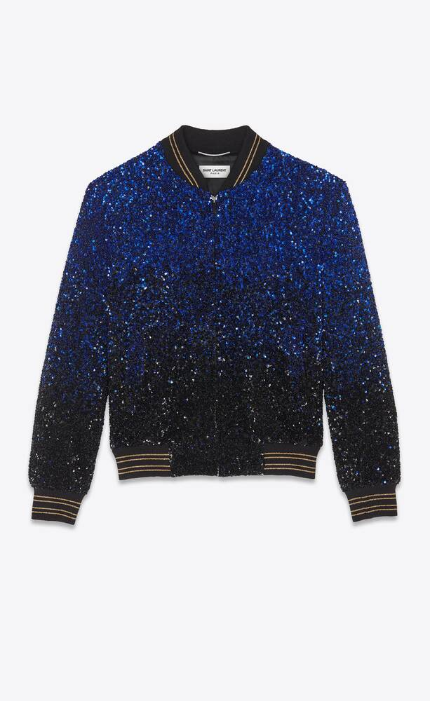 dégradé sequin-embroidered teddy jacket in wool sablé