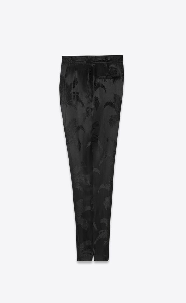 pleated pants in palm satin jacquard