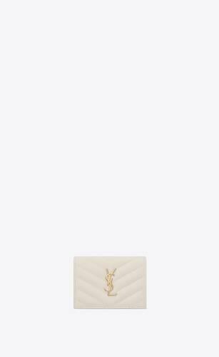 monogramme porte-cartes en cuir embossé grain de poudre