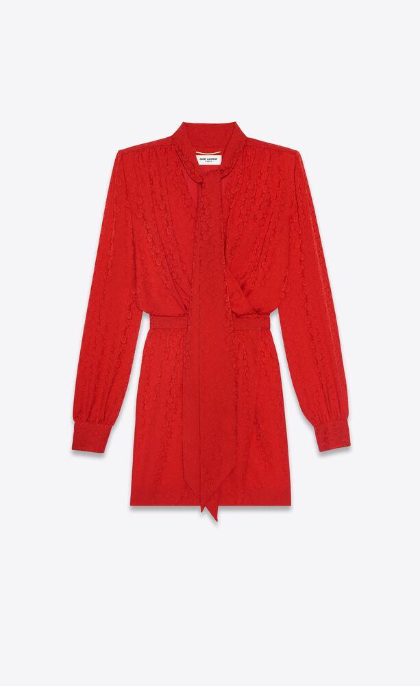robe lavallière cache-cœur en jacquard de cachemire de soie
