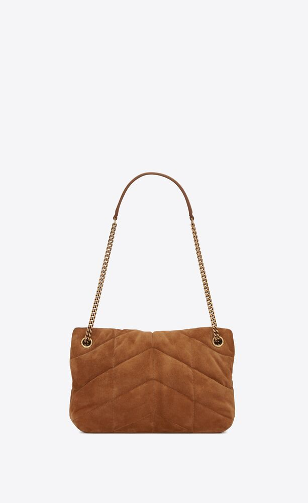 puffer small bag in quilted suede