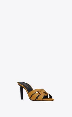 tribute heeled mules in smooth leather