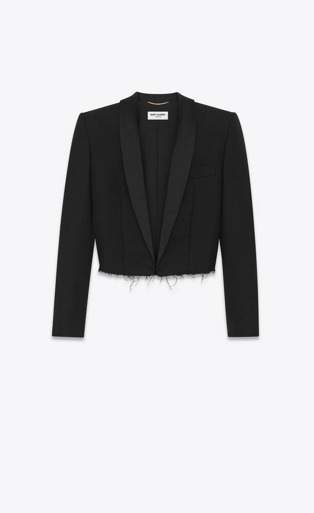cropped tuxedo jacket in wool gabardine and silk