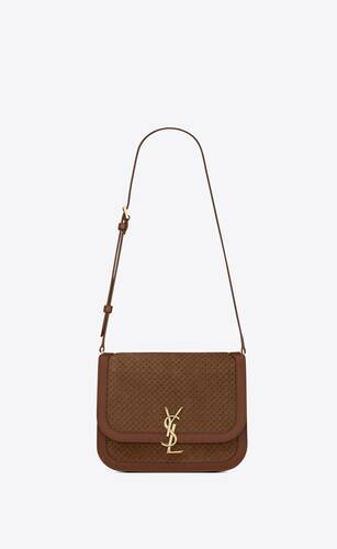 solferino medium satchel in  leather and a braided suede print