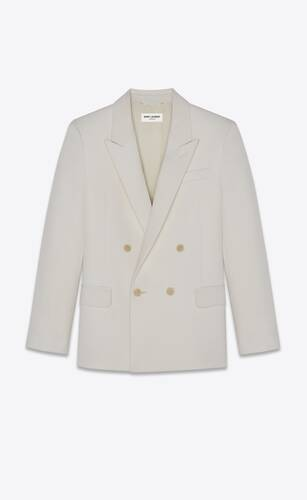 double-breasted tailored jacket in saint laurent grain de poudre