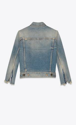 destroyed jacket in rodeo blue denim