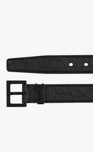 monogram belt in crocodile embossed leather