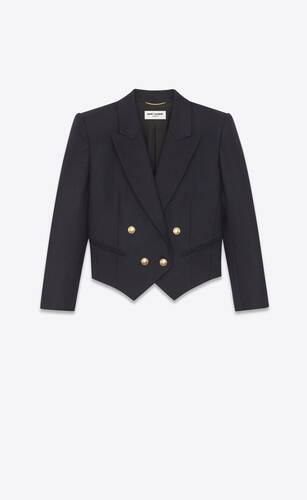 cropped double-breasted jacket in wool gabardine