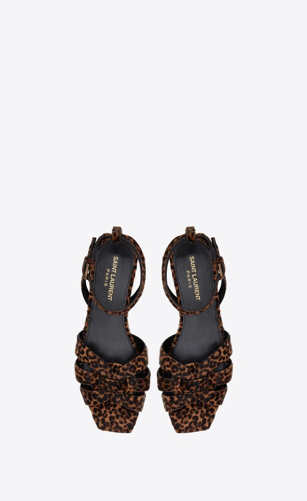 tribute flat sandals in leopard-print pony-effect leather