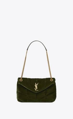 puffer small bag in velvet and lambskin