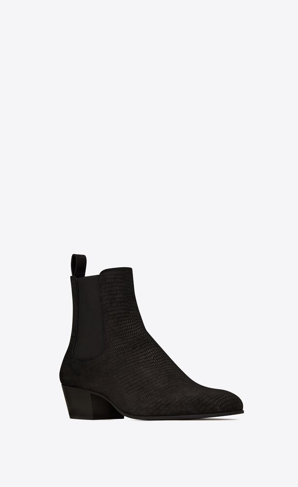 cole chelsea boots in tejus-embossed suede