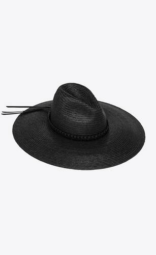 large straw hat with braided leather ribbon