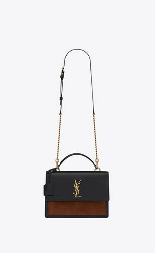 sunset medium bag in shiny vegetable-tanned leather