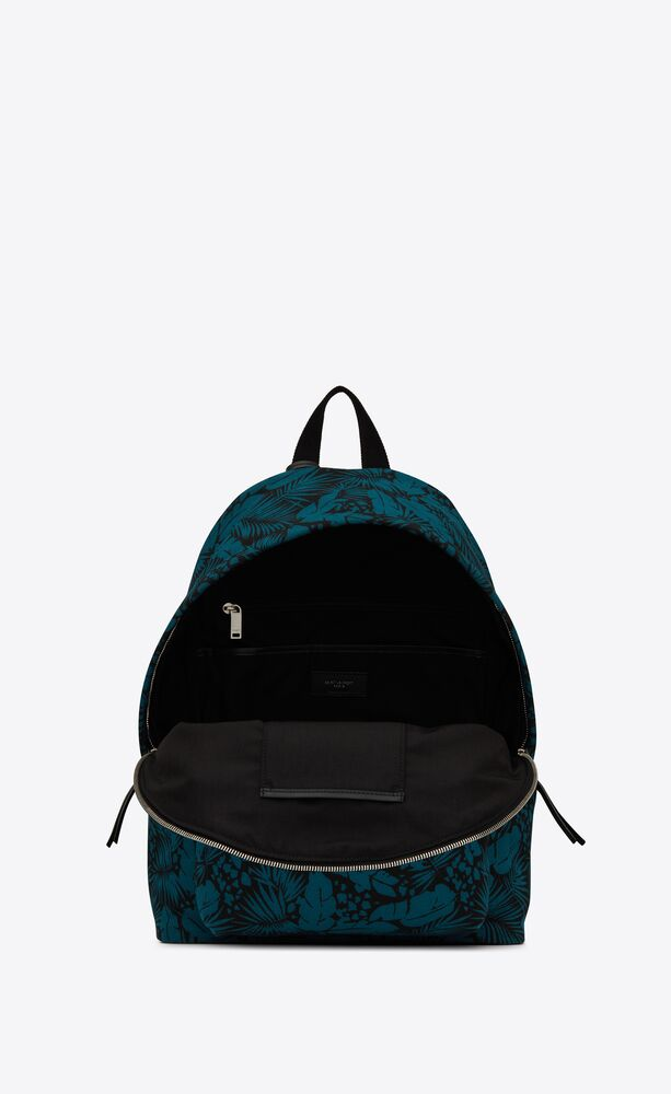 city backpack in tropical canvas