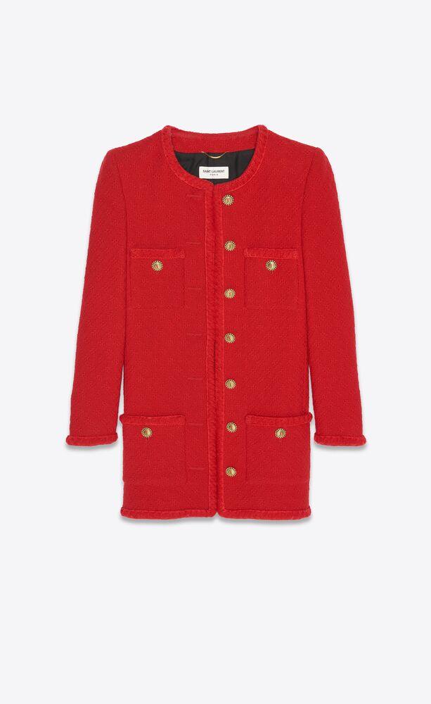 veste longue en tweed embossé losanges