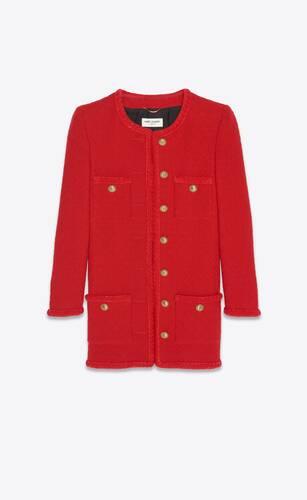 long jacket in diamond-embossed tweed