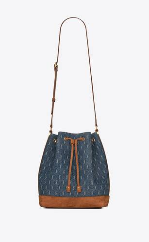 le monogram all over eimertasche aus denim und wildleder