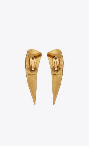 pointed leaf earrings in metal