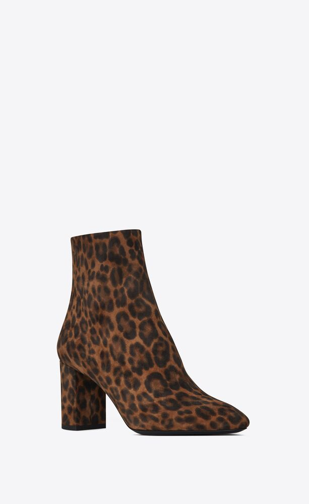 lou ankle boots in suede with a leopard print