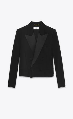 cropped tuxedo jacket in grain de poudre saint laurent
