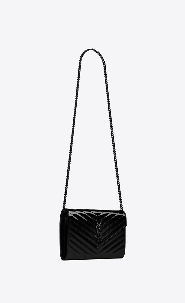 monogram chain wallet in quilted patent leather