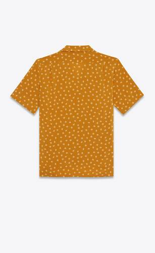 camisa de cuello italiano de viscosa con motivo de orquídea salvaje