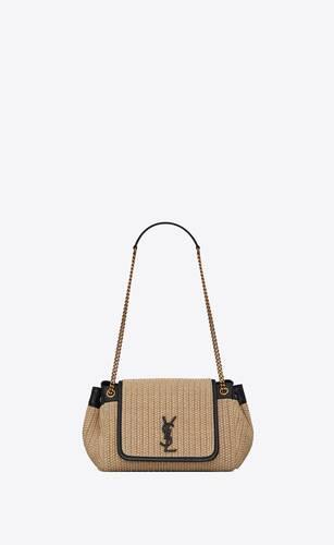 nolita small sac chaîne en raphia et en cuir vintage