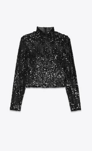 fitted top in embroidered tulle with sequins