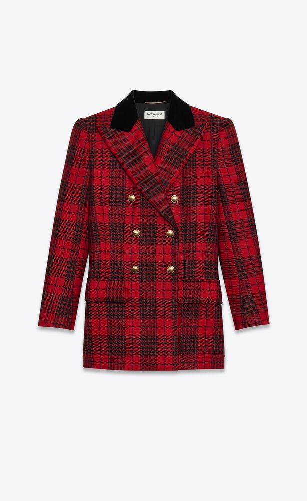 double-breasted jacket in prince of wales wool tartan