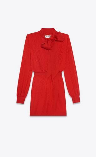 lavallière-neck wrap dress in silk cashmere jacquard