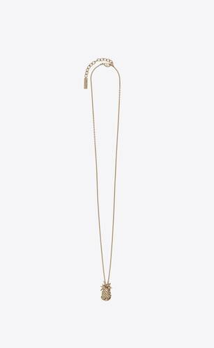 collar de metal con colgante de piña
