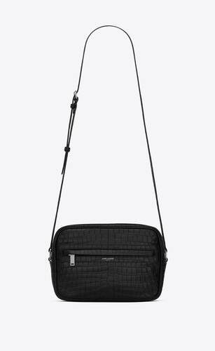 camp camera bag in crocodile-embossed leather