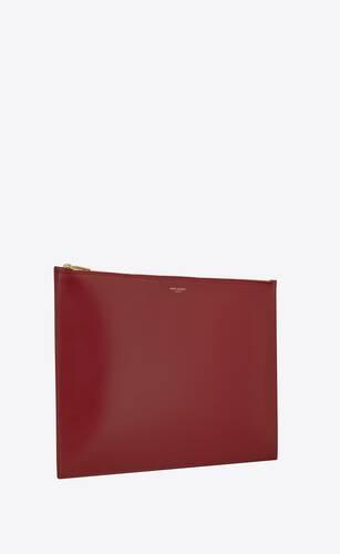 pochette extra large saint laurent paris en cuir mat