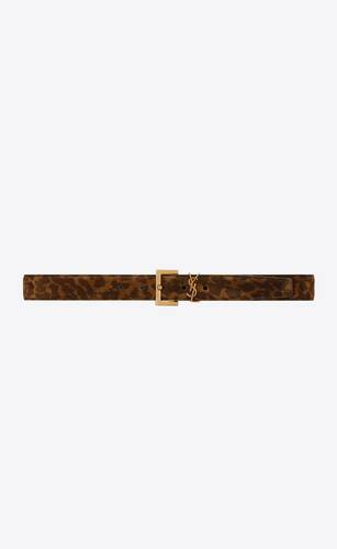 monogram belt with square buckle in leopard-print suede