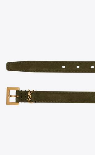 monogram narrow belt with square buckle in suede
