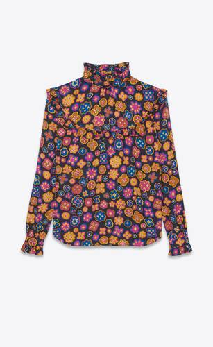 blouse in matte and shiny retro floral silk