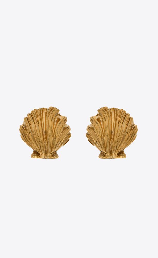 oversized seashell earrings in metal