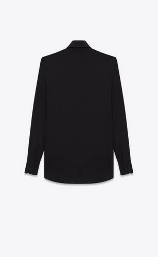 hemd mit paris-kragen aus schwarzem seidencrêpe